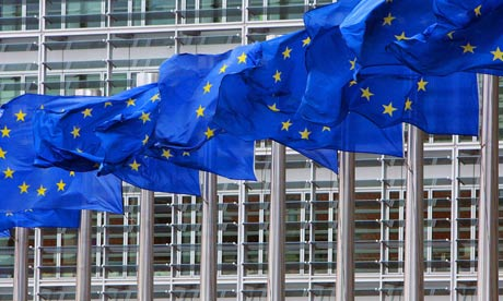 EU flags outside the European commission headquarters in Brussels