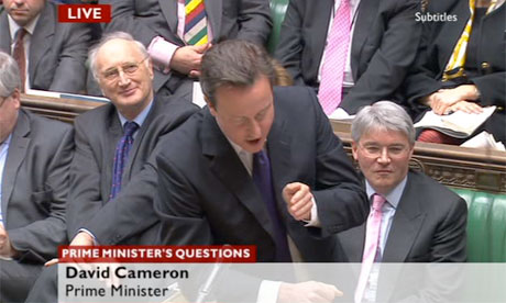 Screengrab from BBC News of David Cameron at PMQs on 2 March 2011