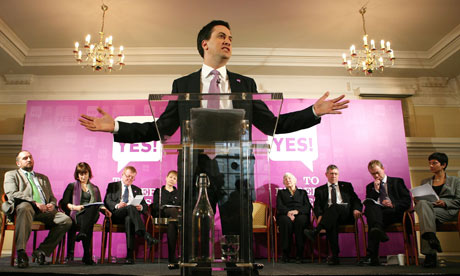 Ed Miliband makes a speech in favour of introducing the alternative vote