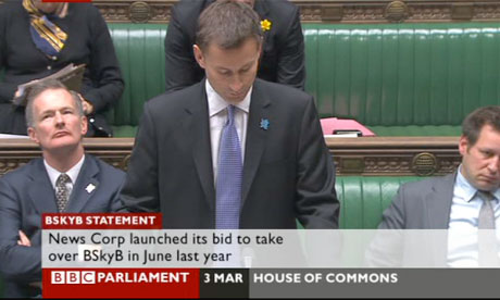 Screengrab from BBC News of Jeremy Hunt making his statement to MPs