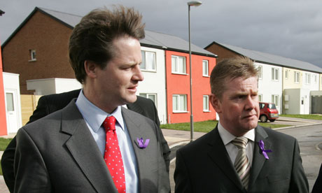 Nick Clegg with Warren Bradley during a visit to a social housing project in Liverpool in 2008