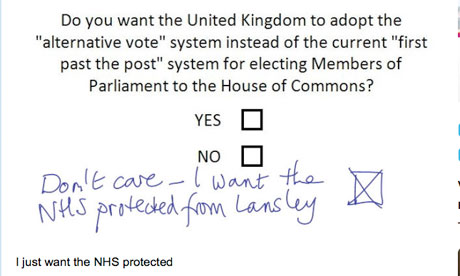Twitpic of doctored AV referendum form