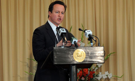 David Cameron speaks during a press conference in Islamabad