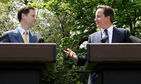 Cameron and Clegg hold their first joint press conference in the Downing Street garden last May