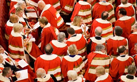 Members of House of Lords seated at state opening of parliament