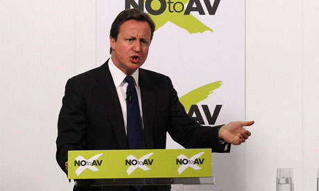 David Cameron speaks at a NOtoAV event