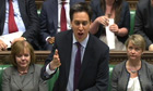 Ed Miliband speaks during the final PMQs before tomorrow's elections and referendum