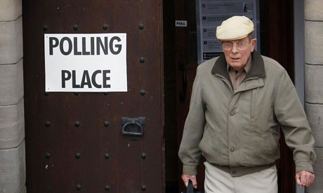 A voter outside a polling station in St Columba's Scottish Episcopal Church in Bathgate, Scotland