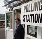 Nick Clegg leaves the Hall Park Centre after casting his vote in the AV referendum