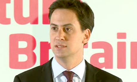 Sky News screengrab of Ed Miliband delivering a speech in central London on June 13 2011