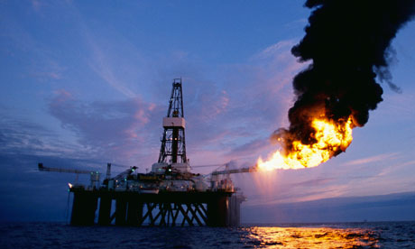 An offshore oil exploration rig in the Scottish sector of the North Sea