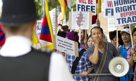 Protesters demonstrate against Chinese involvement in Tibet