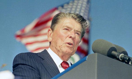 Ronald Reagan making a speech in California in 1991