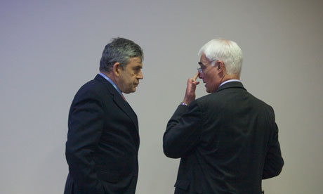 Gordon Brown and Alistair Darling in discussion in Birmingham in 2010