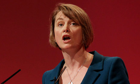 Yvette Cooper speaking at the Labour conference