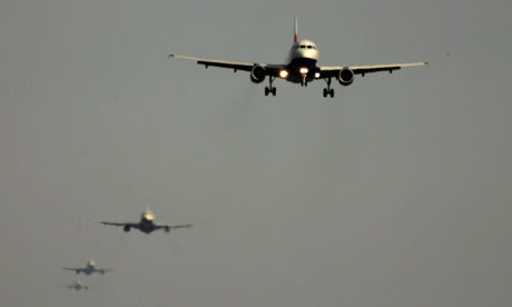 Planes queue to take take their turn to land at Heathrow