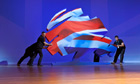 A piece of stage furniture is moved at the Conservative party conference