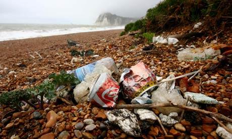 Litter on British beaches