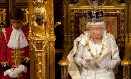 The Queen delivers her speech in the House of Lords