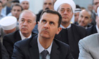 Bashar al-Assad attends prayers at al-Hamad mosque in Damascus