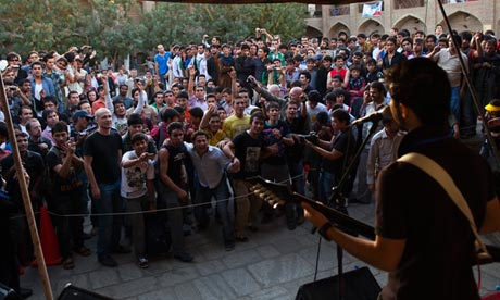An Afghan rock musician performs in front of a cheering crowd during Sound Central last year