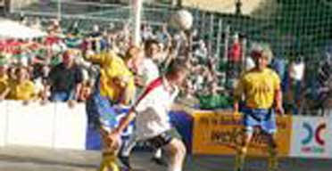 England play Sweden in the quarter finals of the 2004 Homeless World Cup. Photograph: copyright Mark Shiperlee
