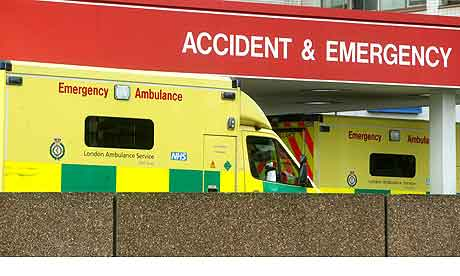 Ambulances outside the accident and emergency department at St Thomas' Hospital in London.