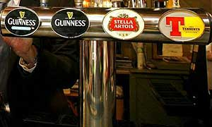 Alcohol: Beer on tap at a Blackpool pub