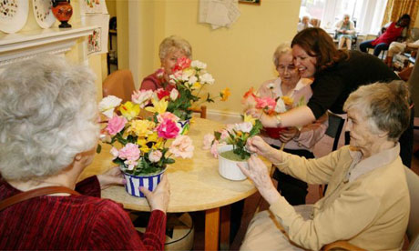 Care home residents flower arranging