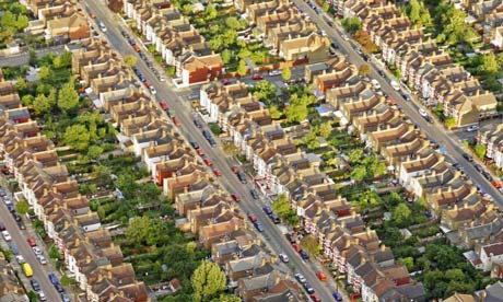 Aerial view of suburban residential housing in London. Photograph: Jason Hawkes/Getty Images