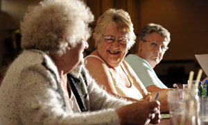 Elderly women play bingo in the Abbey Hulton Community Hall in Stoke-on-Trent