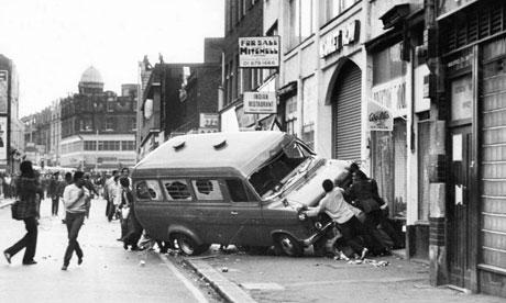 Brixton riots, London, July 1981. Photograph: Peter Murphy