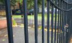 A locked school gate