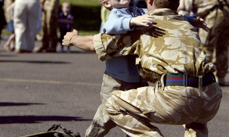 Child and British soldier