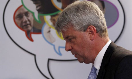 Britain's Health Secretary Andrew Lansley speaks in east London