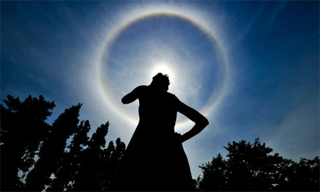 South Africans were surprised to see a rainbow wrapped around the sun