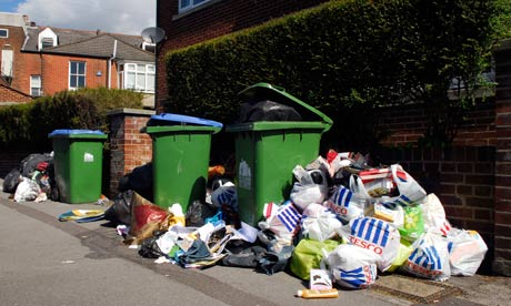 Rubbish left uncollected in a Southampton street after industrial action by refuse collectors