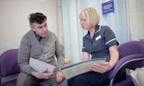 Nurse and man with a learning disability