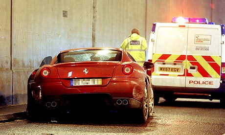 rear view of Cristiano Ronaldo's car after his crash with a roadside ...
