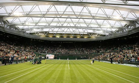 A view of Centre Court at Wimbledon prior to the exhibition match to launch the new retractable roof