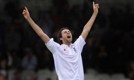 Graham Onions celebrates his fifth wicket against West Indies at Lord's