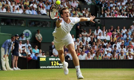 andy murray wimbledon 09. Andy Murray in full flight.