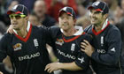 Kevin Pietersen, Paul Collingwood and James Andersen during England's match against Pakistan