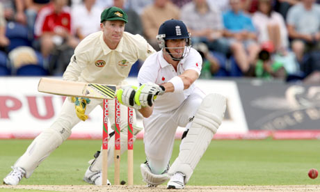 England's Kevin Pietersen hits a ball from Australia's Nathan Hauritz