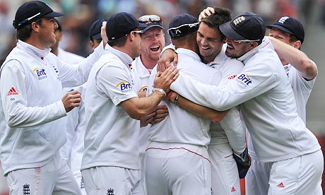 England's James Anderson celebrates after dismissing Michael Clarke