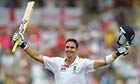 Kevin Pietersen celebrates reaching his double century on day three of the second Ashes Test