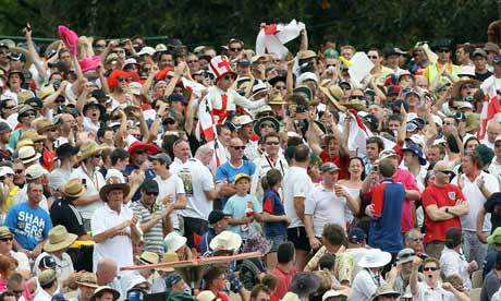 The Barmy Army make themselves heard at the Adelaide Oval