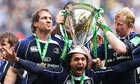 Leinster celebrate winning the Heineken Cup against Leicester Tigers last May