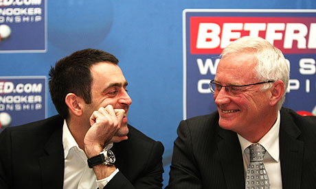 Ronnie O'Sullivan, left, and Barry Hearn at launch of World Snooker Championship today