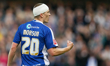 Steve Morison celebrates opening the scoring in Millwall's 2-0 win against Huddersfield